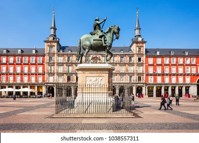 The Plaza Mayor or Main Square is a central plaza in the city of Madrid, Spain. Madrid is the capital of Spain.