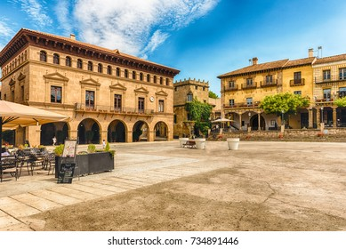 Plaza Mayor, main square in Poble Espanyol, an open-air architectural museum on the Montjuic hill in Barcelona, Catalonia, Spain