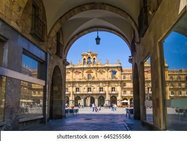Plaza Mayor of Salamanca Spain. It's the main square of the city and a public gathering place where families and friends come to hang out.