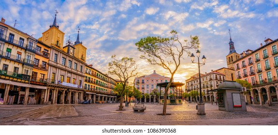 The Plaza Mayor of Segovia, Spain. This is the main square of the city where town hall, cathedral, and the main theater are located.