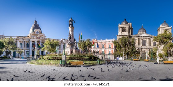 Plaza Murillo, Bolivian Palace of Government and Metropolitan Cathedral - La Paz, Bolivia