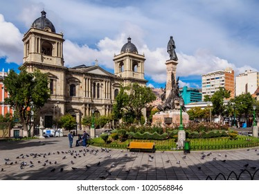 Plaza Murillo with Cathedral Basilica of Our Lady of Peace, La Paz, Bolivia