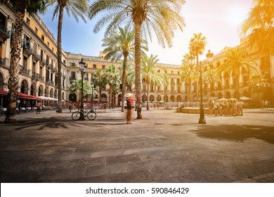 Plaza Real (Royal Square) on a summer day, Barcelona, Spain