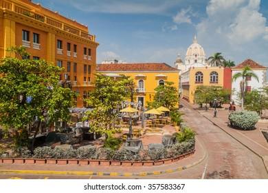 Plaza Santa Teresa square in the center of Cartagena de Indias, Colombia