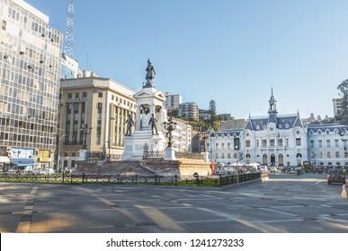 Plaza Sotomayor Square and Chilean Navy (Armada de Chile) building - Valparaiso, Chile