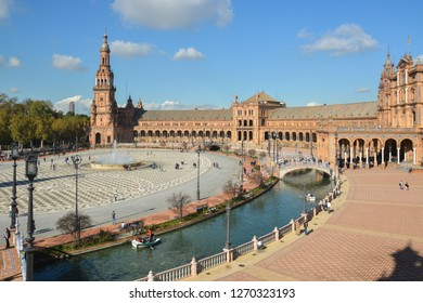 Plaza of Spain (Seville). Plaza de España is a landmark of Seville, the capital of Andalusia.