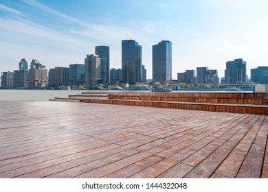 Plaza tiles and skyline of urban Architecture
