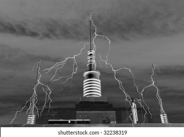 Plaza Tower With High Voltage Electric