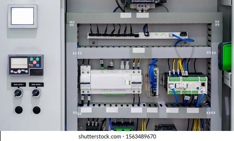 PLC Control panel with wires terminal connection for machine in the industrial factory