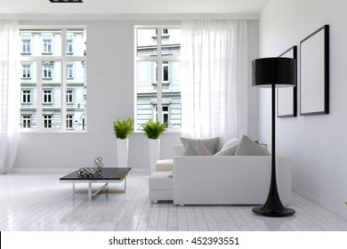 Pleasant 3D rendering of beautiful living room with white walls, large sofa and tall plant holders on top. Includes open windows facing other urban building and blank picture frames on wall.