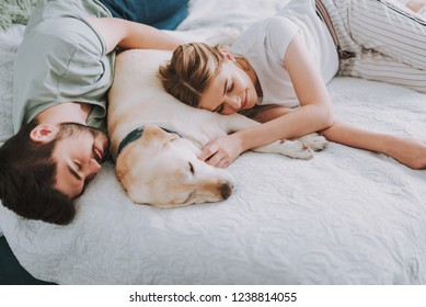 Pleasant couple sleeping while resting with their dog in bed