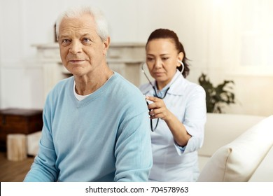 Pleasant elderly man having a medical examination