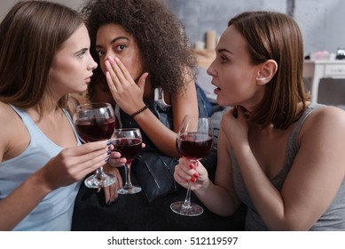 Pleasant friends drinking wine and gossiping