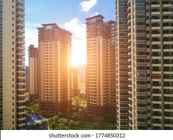 A pleasant high-rise residential building in a modern city.