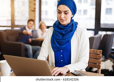 Pleasant muslim businesswoman feeling injustice from the society