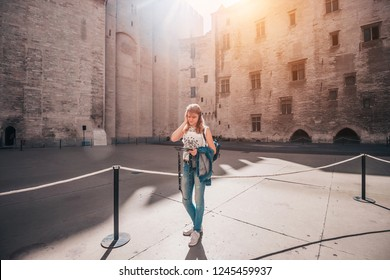 Pleasant nice attractive blonde girl in Avignon Palace