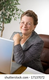 Pleasant senior executive woman at her desk