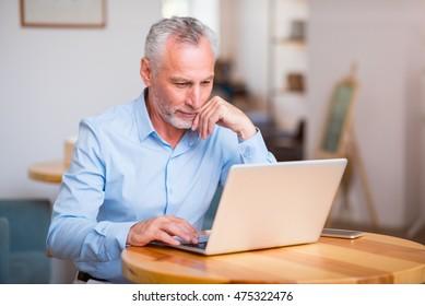 Pleasant senior man using laptop
