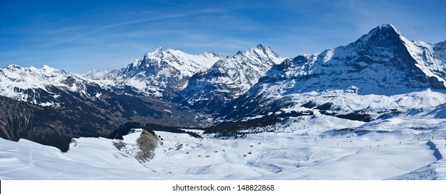 It's so pleasant to ski with such view, Alps, Switzerland.