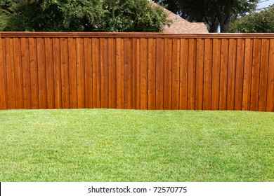 A pleasant sunny backyard with green grass and a nice wood fence.