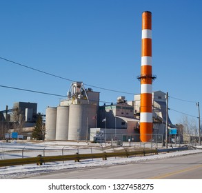Pleasant Valley, Canada - March 01, 2019: Lafarge Cement Plant. Lafarge is a multinational company producing cement, construction aggregates, and concrete. Lafarge and Holcim are now merged.