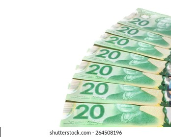 PLEASANT VALLEY, CANADA - MARCH 27, 2015: The Canadian twenty dollar note is a banknote of the Canadian dollar. The Frontier Series banknote was released in 2012.