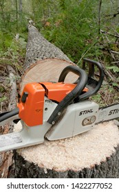 Pleasant Valley, Canada - September 8, 2010: Stihl chainsaw and felled tree. Stihl is a German manufacturer of chainsaws and power equipment. They are the world's best-selling brand of chain saws.