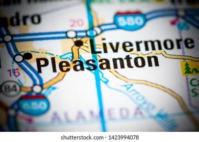Pleasanton. California. USA on a map