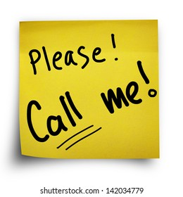 Please call me note on yellow sticker paper note isolated