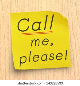 Please call me note on yellow sticker note on plywood wall