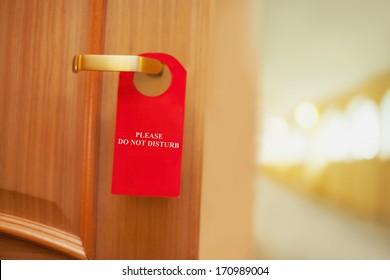 Please do not disturb on a door of number hotel