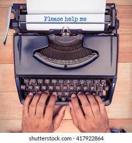 Please help me message against businessman typing on typewriter