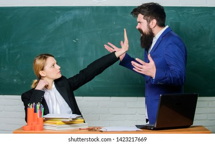 Please shut up. Tired of complaints. Indifferent about objection. Dismissed objection. School teacher and parent. Stop talking to me. Criticism and objection concept. Teacher wants man to shut up.