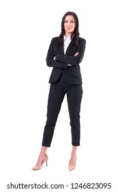 Pleased confident business woman successful leader smiling and looking at camera. Full body isolated on white background.