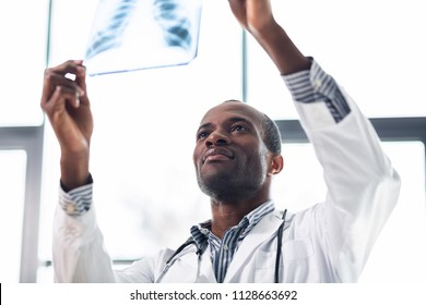 So pleased. Pleased medical worker raising arms while looking at x-ray picture