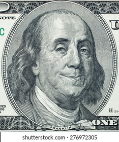Pleased President Benjamin Franklin portrait on 100 US dollar bill