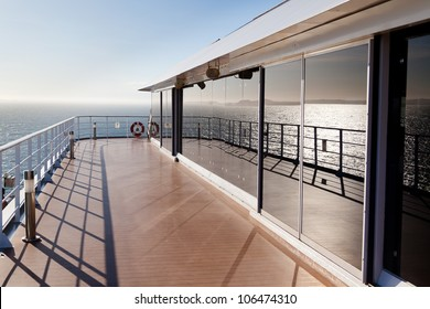 Pleasing and relaxing view from the deck on a cruise ship for summer vacation. This is good to advertise vacation and holidays on cruises.