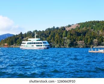 Pleasure boat in Lake Ashinoko in Hakone