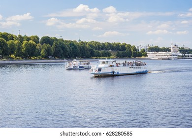 Pleasure boat on the Volga river in the city of Yaroslavl