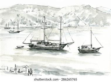 Pleasure boats near the shore graphic sketch