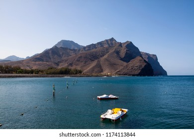 Pleasure boats on the coast of La Aldea, Gran Canaria.