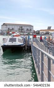 Pleasure boats at the pier in Venice. Italy