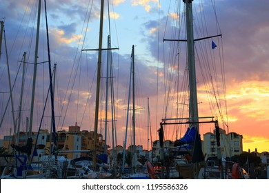 Pleasure boats in the port of Gruissan at the sunset in Aude. Languedoc in the south of France
