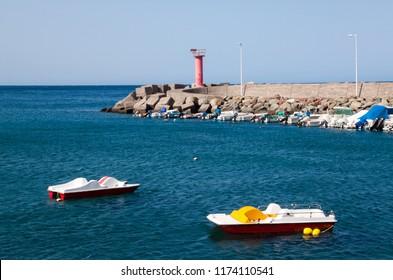 Pleasure boats in the port of La Aldea, Gran Canaria.