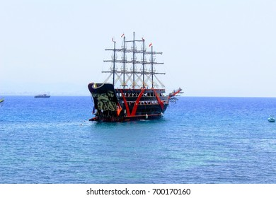 Pleasure sailing vessel for sea excursions on the Turkish Riviera (Antalya, Turkey) in July 2017.