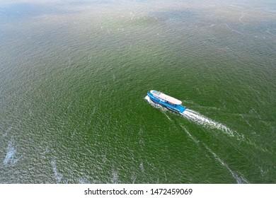 Pleasure ship in the Volga Delta. Aerial shooting.