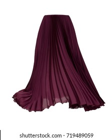 Pleated skirt of wine color isolated on white background