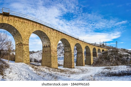 Plebanivka, Ukraine 01.06.2020. Viaduct in Plebanivka village, Terebovlyanskiy district of Ukraine, on a sunny winter day