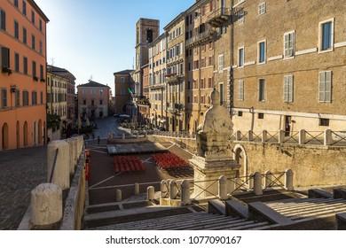 Plebiscito square is the most important square of Ancona historic center. Ancona, Marche, Italy, August 2017