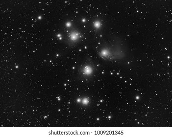 The Pleiades in B&W (M45) in Taurus constelation.